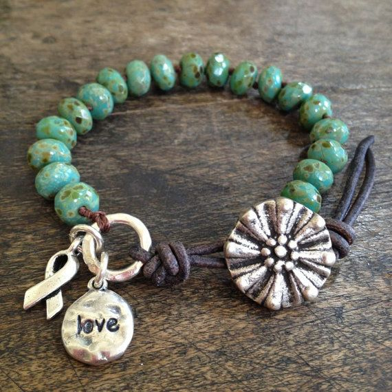 """Rustic Turquoise Knotted Wrap Bracelet, Cancer Ribbon, Beaded Jewelry, """"Love""""  by Two Silver Sisters twosilversisters"""