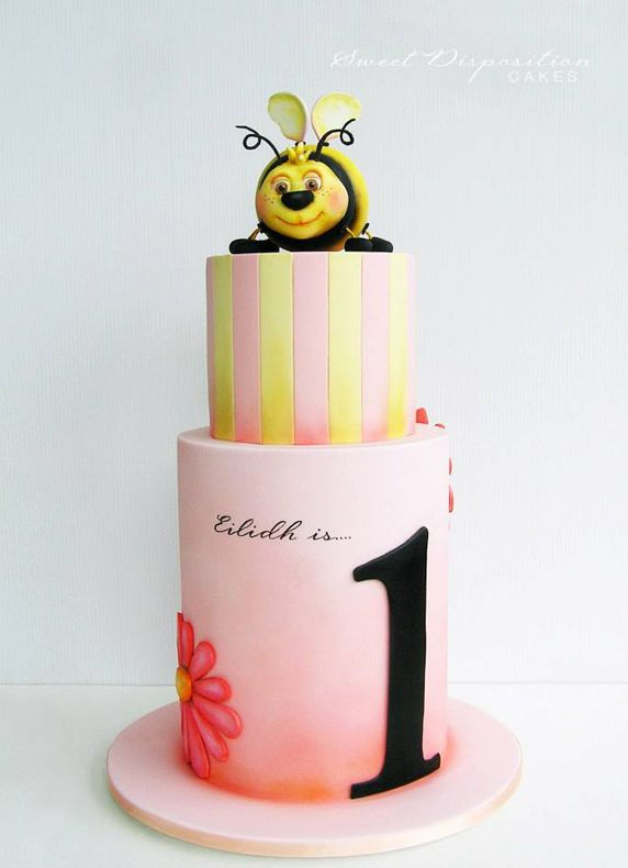 Beautiful Cake Pictures: Bumble Bee Pink Striped Birthday Cake: Birthday Cakes, Themed Cakes