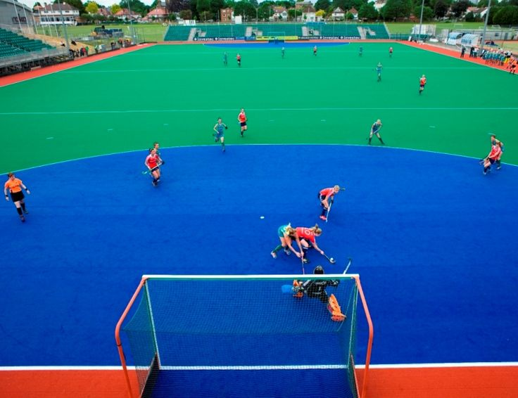 Blue Ds from Olympics installed on Investec Hockey World League pitch in London
