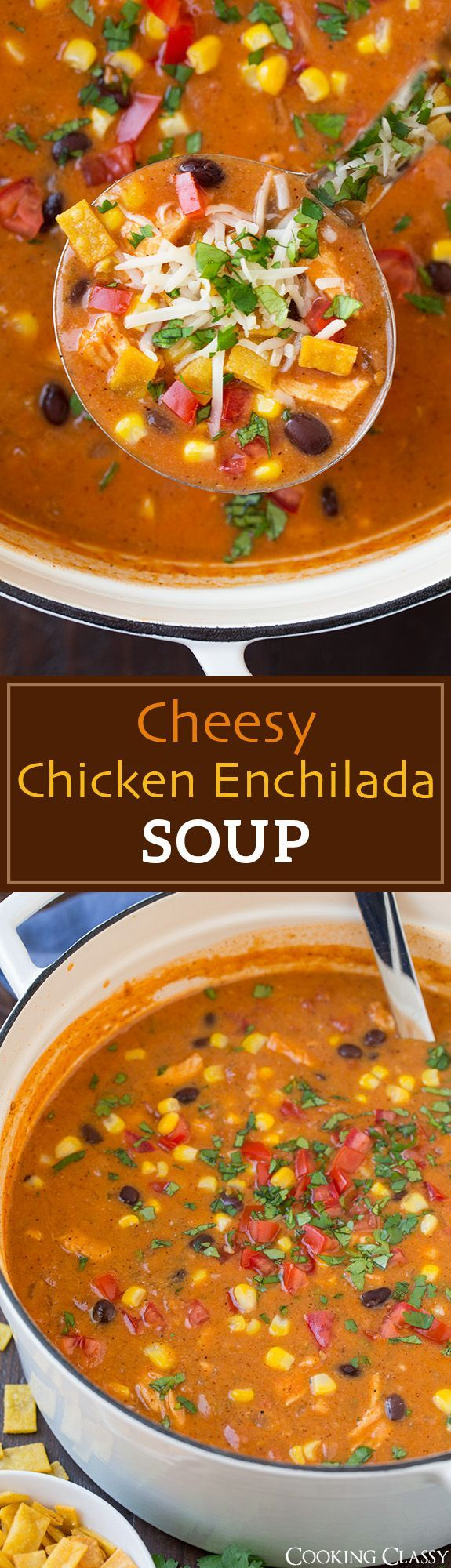 Cheesy Chicken Enchilada Soup - so good you'll want to make it on a regular basis! Chicke cooked right in the soup so it's an easy one pot dinner!