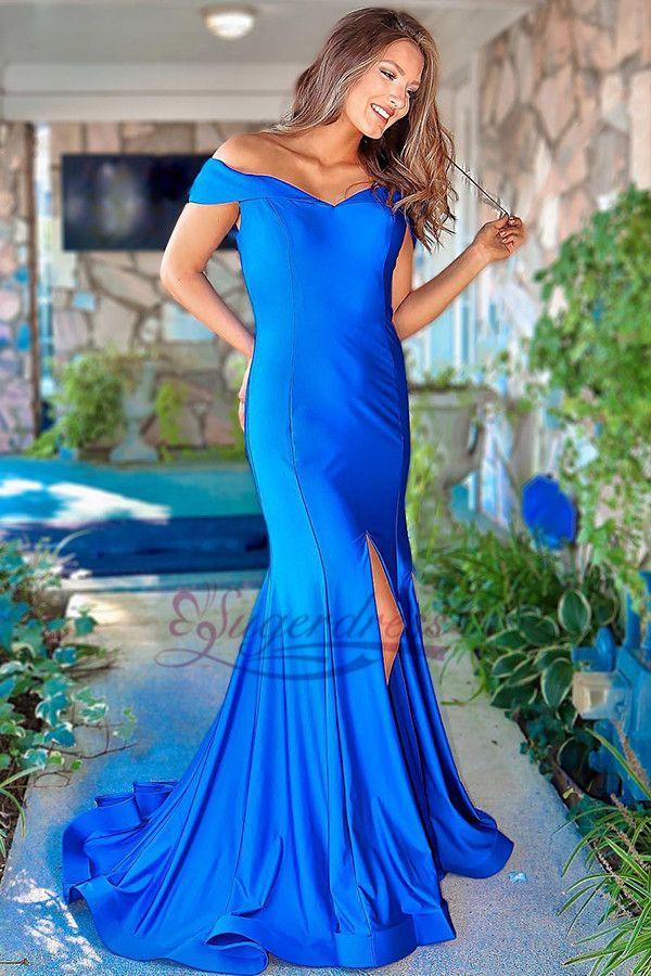 7f019bbcf212 Gorgeous Off the Shoulder Royal Blue Long Prom Dress, Prom Dresses Mermaid,  Elegant Royal Blue Formal Evening Dresses Off the Shoulder
