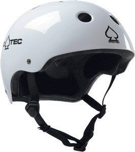 Pro-Tec Classic Gloss White Skateboard Helmet - [Large] by Pro-Tec. $31.95. Often imitated, never duplicated that's the Classic Pro-tec styling! Lo-Pro 2-stage multi-impact liner, tough ABS shell, stainless steel rivets & soft tubular webbing have set the standard in skate helmets.