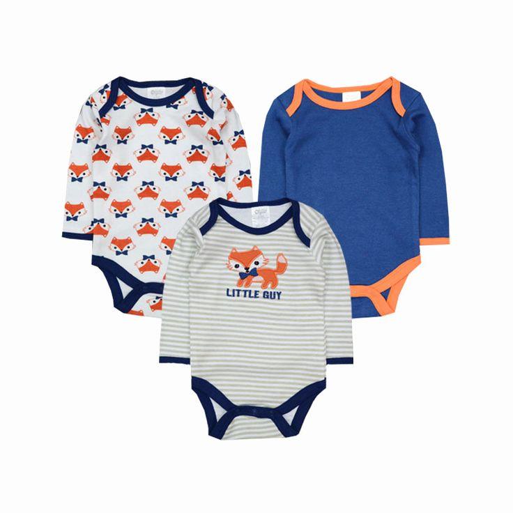3pcs/lot Baby Romper 2016 Baby Clothing Newborn Baby Boy Clothes Baby Overall Bebe Clothes roupa de bebe menino