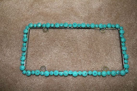 Car Accessories - Turquoise Beaded License Plate Frame by Sewwhat001, $33.00
