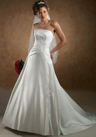 Satin a line simple appliqued empire waist chapel train for Simple corset wedding dresses