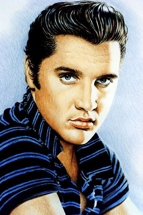 Elvis coloured pencil drawing