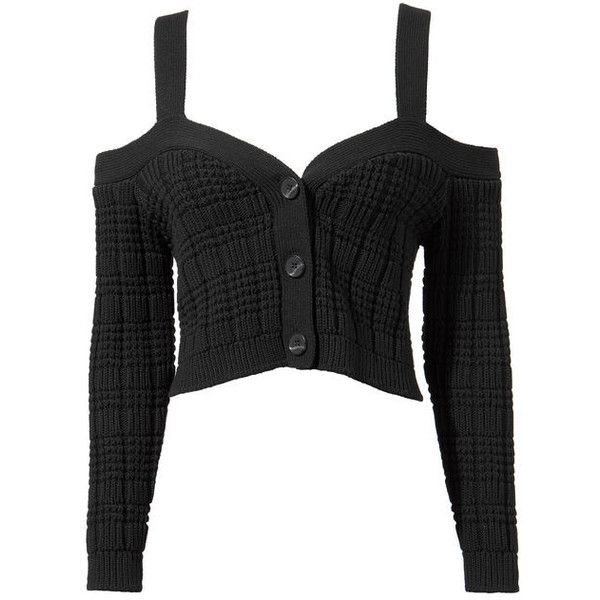 Exclusive For Intermix Rhea Cropped Cardigan Sweater (€225) ❤ liked on Polyvore featuring tops, black, intermix tops, cut-out crop tops and crop tops