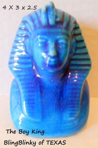 Egyptian Pharoah Tutankhamun Figurine Head Souvenier Pyramids Boy King  Listed for charity .. BlingBlinky.com