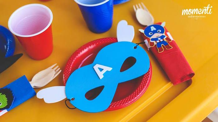 Place setting with superhero mask from Modern Avengers Birthday Party at Kara's Party Ideas. See the whole party at karaspartyideas.com!