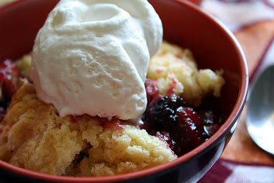A cool scoop of vanilla ice cream makes this blackberry dump cake even better.