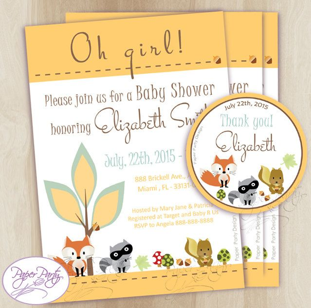 Woodland Baby Shower Invitation Fox Forest Baby Shower Invitations Orange Baby Shower Invitation Invites - Free Thank You Card Customized by PaperPartyDesignUS on Etsy