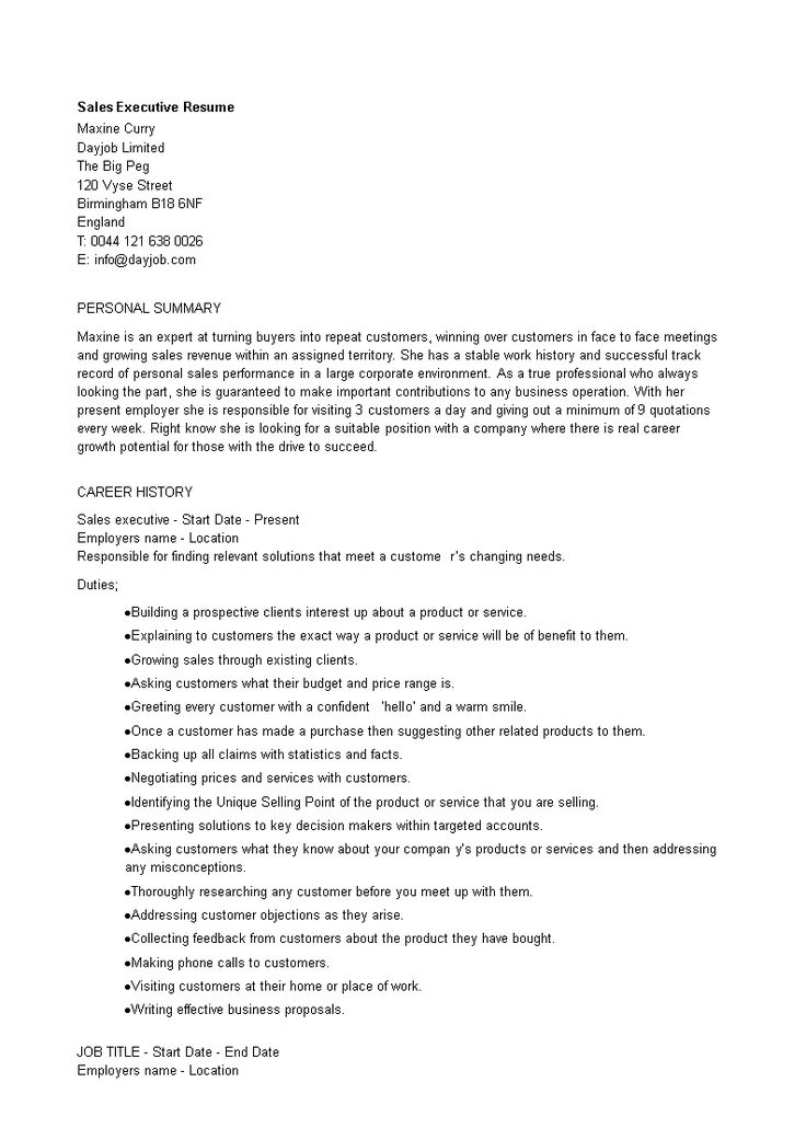 Sales Executive Resume Word How to create a Sales