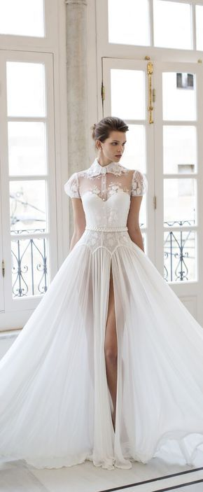 RIKI DALAL bridal 2016 short puff sleeves sweetheart illusion collar shirt bodice a line wedding dress / http://www.deerpearlflowers.com/wedding-dresses-with-cap-sleeves/