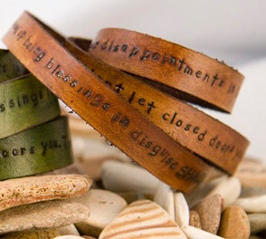 Leather wrap, triple, quote message, personalize, customizable. via Etsy.
