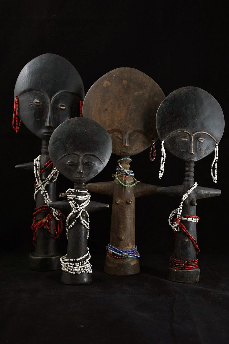 Africa | Dolls ~ Akua Mma or Akwaba ~ from the Ashanti people of Ghana | Wood and glass beads