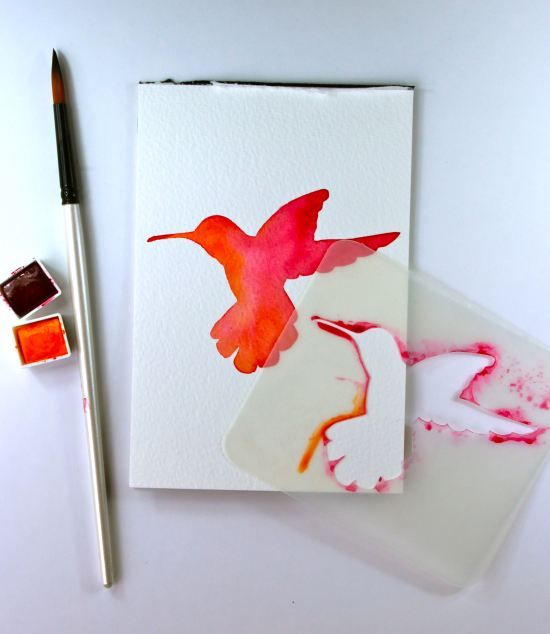 lovely stenciled watercolors