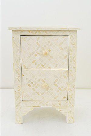 Bone Inlay Bedside Geometric - White $825