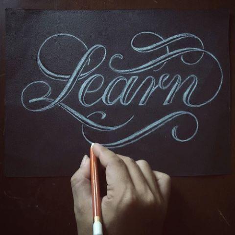 """""""Learn"""" hand lettering #script #handlettered #handlettering"""