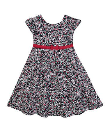 Look what I found on #zulily! Navy Holly Bow Dress - Infant, Toddler & Girls #zulilyfinds