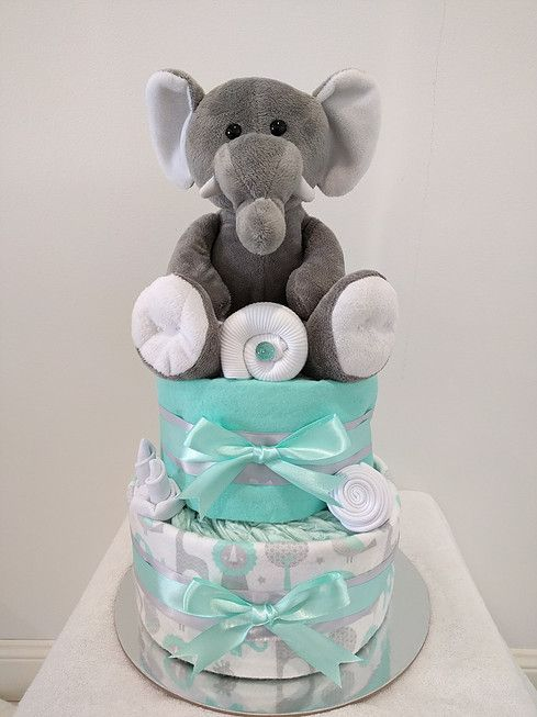 Baby Neutral Mint Nappy Cake, Mint and Grey, Elephant, Diaper Cake, Neutral