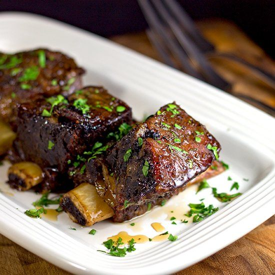 Slow cooker maple glazed short ribs recipe beef short for Gourmet dinner menu ideas