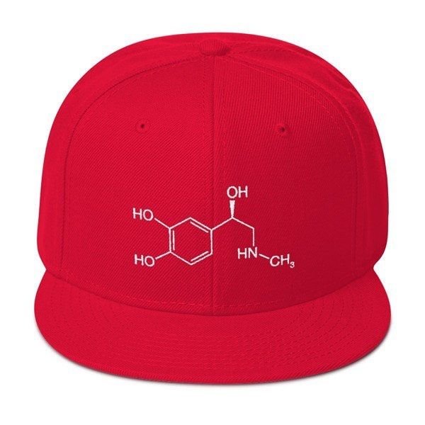 Our new #adrenaline #molecule snapback cap. You can get it at moleculestore.com  #Epinephrine (also known as adrenaline) is a #hormone and a #neurotransmitter . It increases heart rate constricts blood vessels dilates air passages and participates in the fight-or-flight response of the sympathetic nervous system. Chemically epinephrine is a catecholamine a monoamine produced only by the adrenal glands from the amino acids phenylalanine and tyrosine.  #fightorflight #snapback #cap #chemistry…