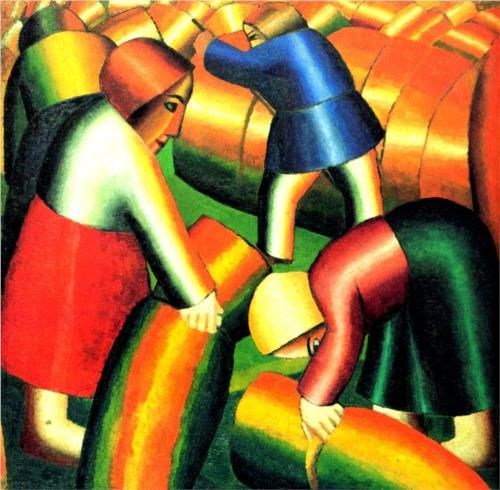 Taking in the Harvest - Kazimir Malevich, 1911, Wikipaintings
