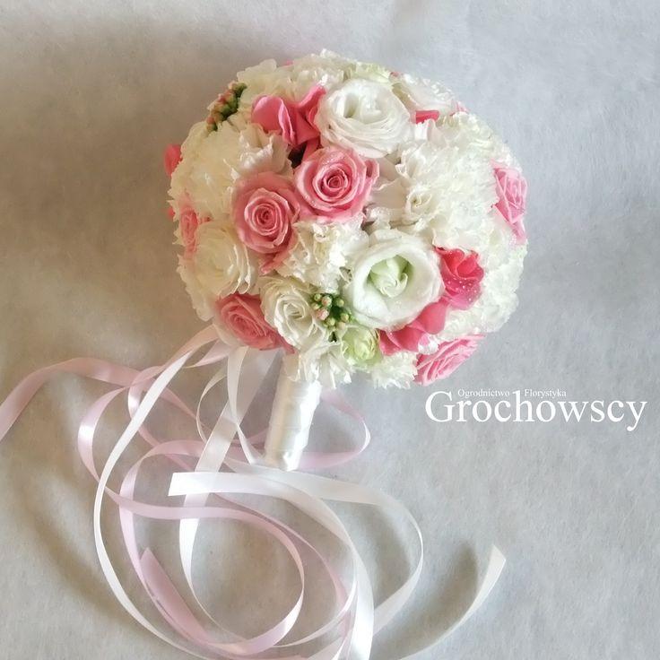 biało - różowy bukiet ślubny bukiet ślubny Człuchów bukiet ślubny kulka