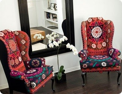 Wingback Chairs Upholstered In Two Different Fabrics