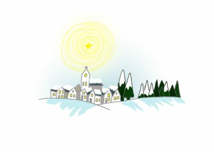 Kerstkaart, winter wonderland. Een lief, klein dorpje in de sneeuw, beschenen door een stralende ster. Merry Xmas!