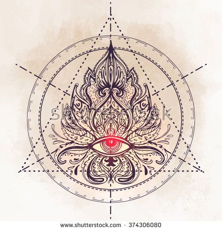 All seeing eye ornate composition. Hand drawn vintage style design element. Alchemy, spirituality, occultism, textiles art. Isolated vector illustration for t-shirt print. Sacred geometry.