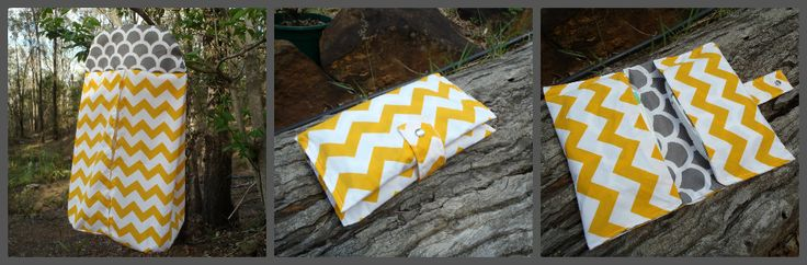Custom order yellow and grey chevron two pocket nappy & wipes wallet and nappy stacker.