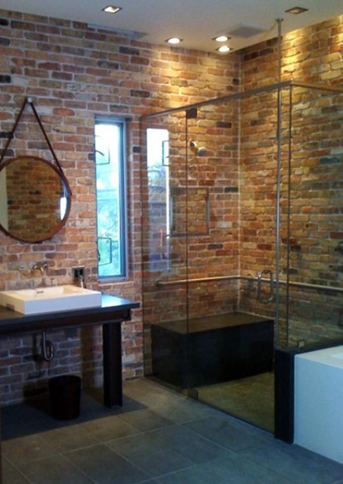 Unique bathroom idea, brick shower. Maybe only partial wall in detail to brighten up but still gorgeous!  -HR