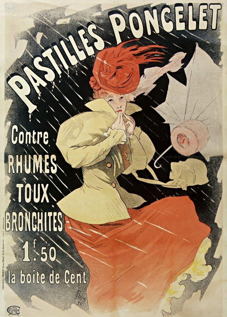Pastilles Poncelet contre rhumes, toux, bronchites, 1F,50 la boîte de cent...   Jules Chéret   1896   National Library Of France   Public Domain