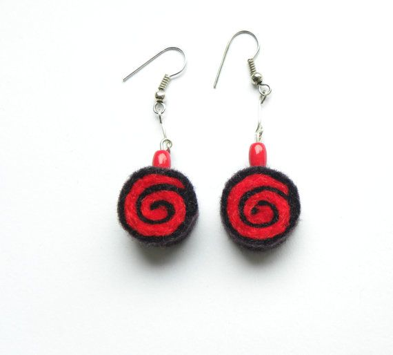 Earrings  unique felted rolls no 56 felt merino by MarudaFelting