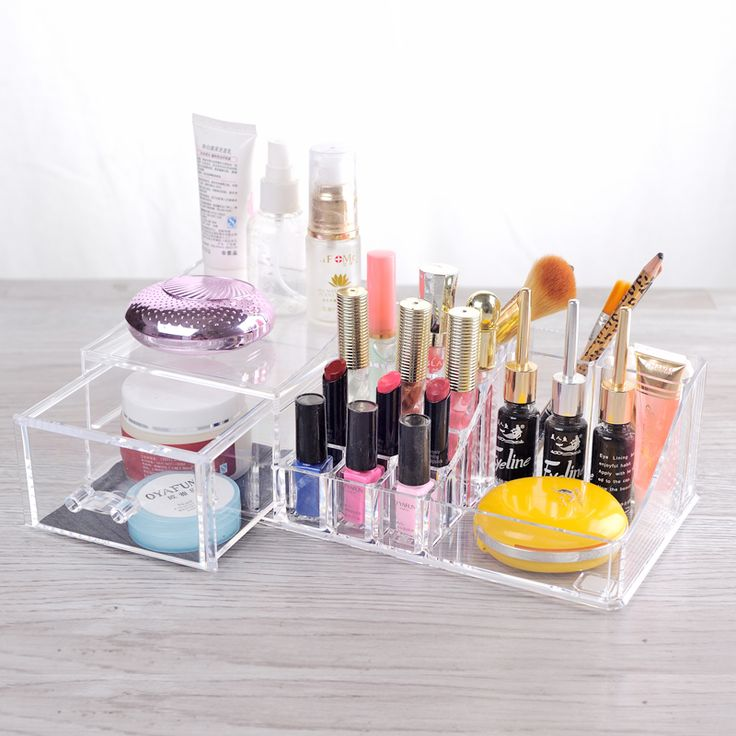 Clear Acrylic Makeup Organizer Cosmetic Organizer Box Makeup Brush Lipstick Holder with Jewelry Drawer Storage Box