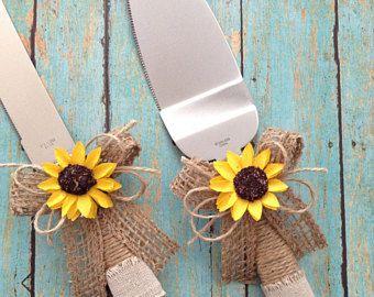 Servidor de la torta de la boda y el cuchillo Cortador pastel decoración de pastel de boda Set / girasol / arpillera tarta Set / rustica girasol pastel servidor
