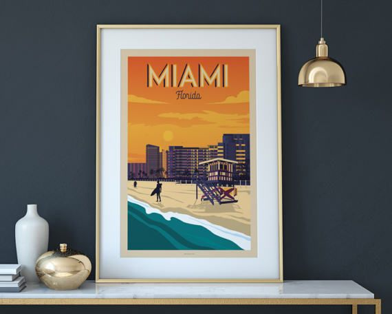 Retrouvez cet article dans ma boutique Etsy https://www.etsy.com/fr/listing/518131405/vintage-travel-poster-miami-florida