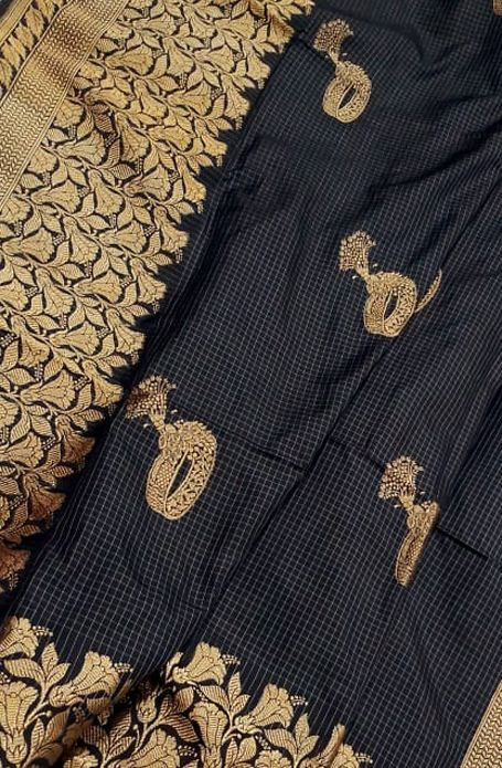 Buy Black Handloom Banarasi Pure Katan Silk Big Border Saree 5