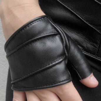 Fingerless Cropped Leather Gloves by luxluxnyc on Etsy, $75.00
