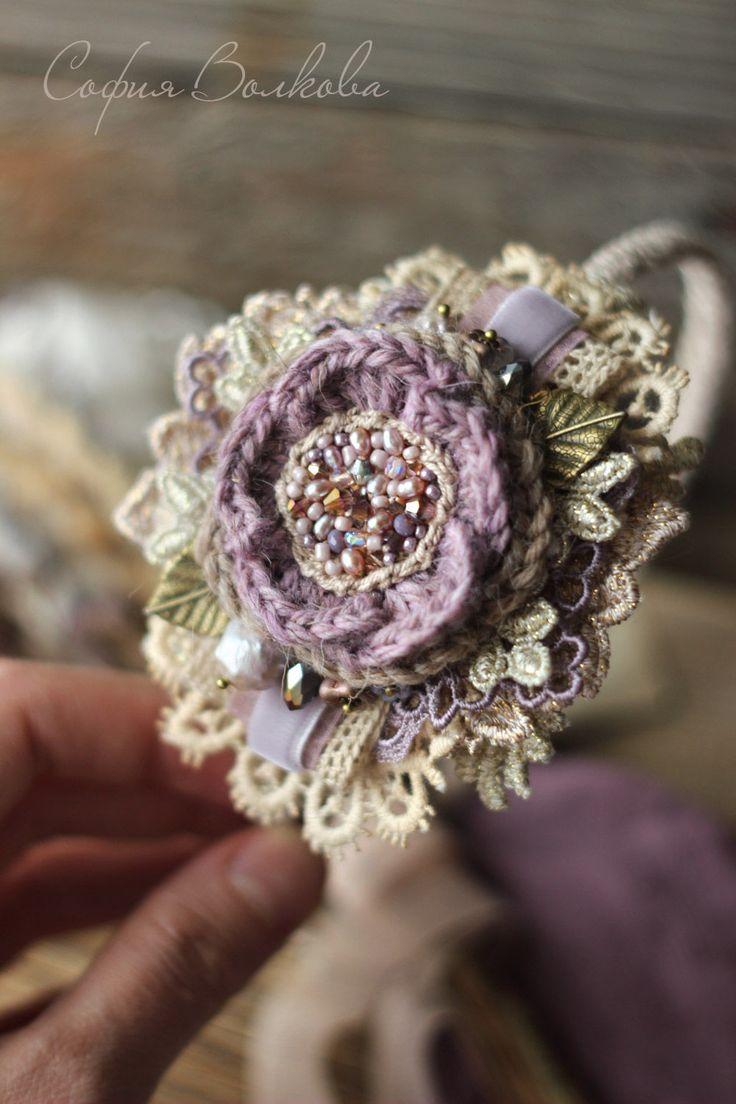"""Купить Ободок """"Заснеженный крокус"""" - сиреневый, ободок для волос, ободок с цветком, украшение для волос"""