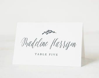 Printable Place cards Template, Wedding Place Cards, Calligraphy Place Cards, Rustic, Edit in Word or Pages
