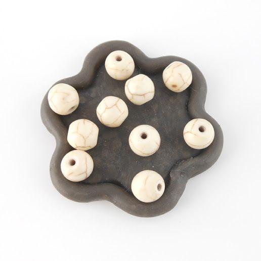 x10 Perles rondes en howlite écru 8mm : Perles Synthétiques par perlio