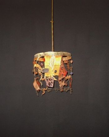 HANGING LAMP handmade ceiling lamp NET 30 made by brass, copper and handmade glass beads