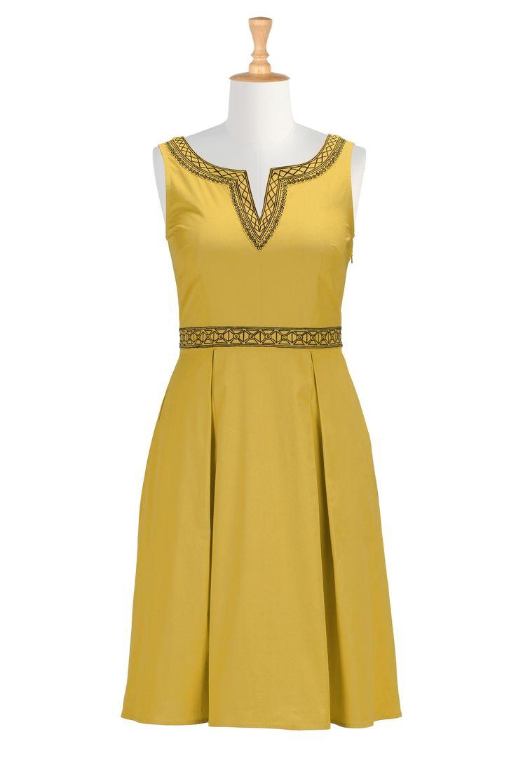 split neck graphic embroidery dress