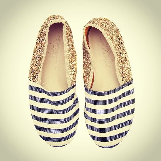 Anniel Soft Slipper Shoes Stripes Glitter www.annielmoda.com