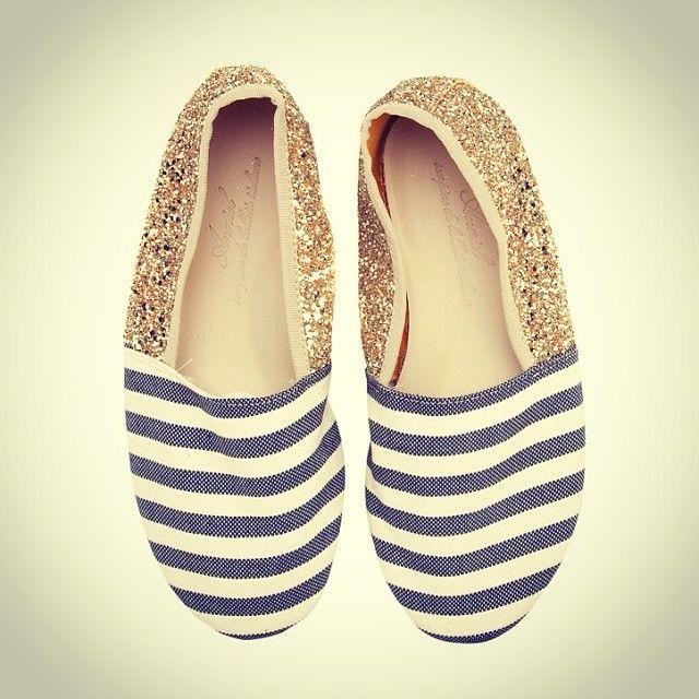 Anniel Soft Slipper Shoes Stripes Glitter www.annielmoda.com