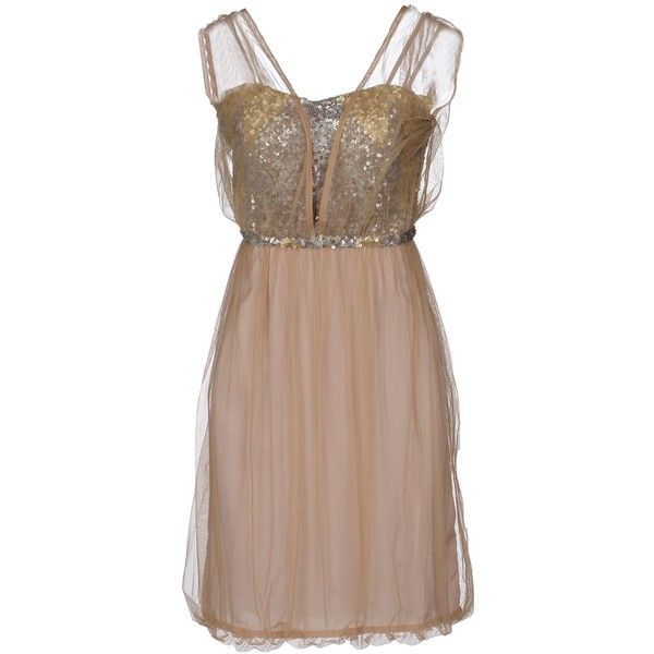 BLANK Short dress ($48) ❤ liked on Polyvore featuring dresses, beige, sleeveless short dress, sequin embellished dress, sequin cocktail dresses, brown sequin dress and beige short dress