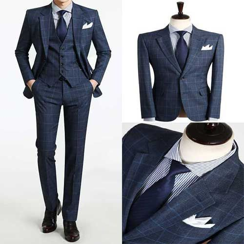 3-Piece-set-New-Wedding-Dress-for-mens-2Button-check-style-Deep-Blue-suits-B551