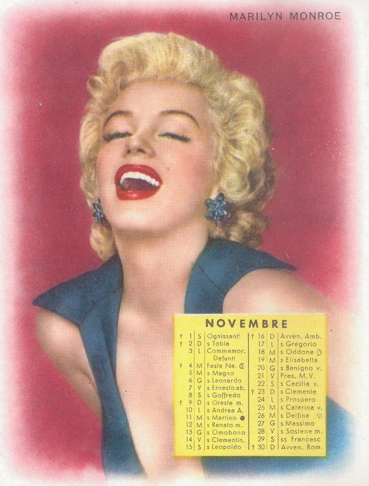 Marilyn Monroe, 1958; calendarietto da barbiere Technicolor
